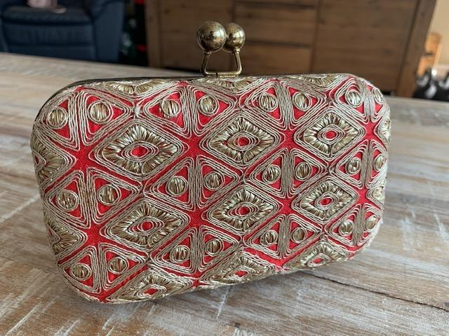 Red and Gold Embroidered Clutch on Sale!