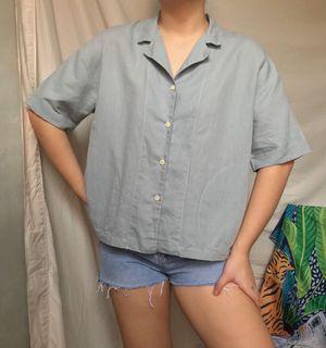Short sleeved Light Blue Linen Polo