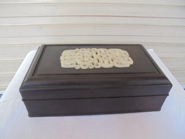 [六順民藝]木雕--檀木鑲白玉木盒(龍鳳)