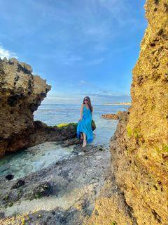 Dress backless warna biru