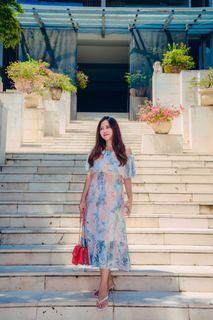 Dress sabrina abu2 motif abstrak