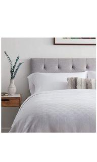 """LUCID Mid-Rise Upholstered Headboard - Adjustable Height (34""""-46"""") Queen Stone"""