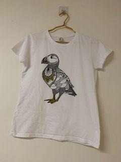 印度棉鳥圖騰白色上衣M