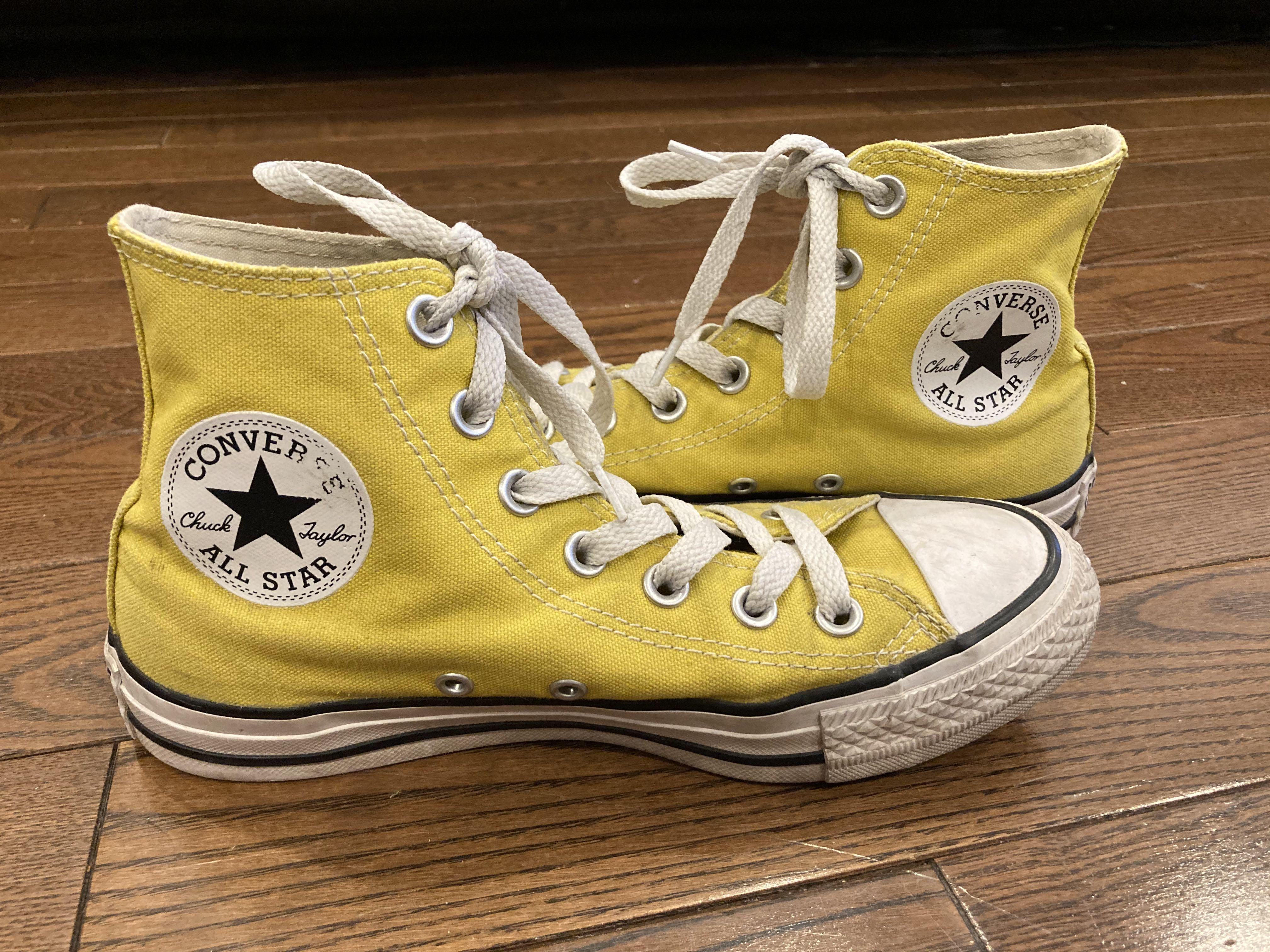 mustard yellow high top converse size 6