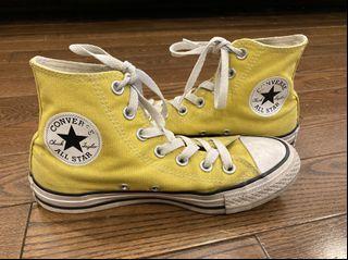 mustard yellow high top converse size 6