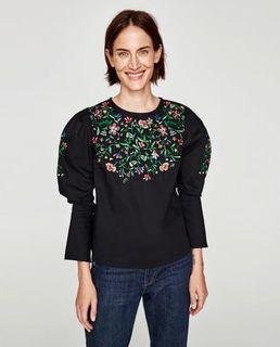 Zara Black Popplin Embroidery Top