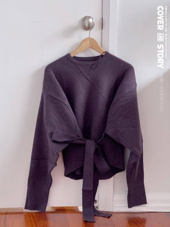 Zara purple sweater feminine romantic with waist tie