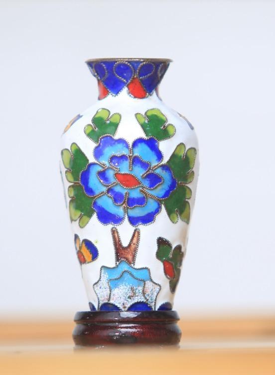 景泰藍3號高桶景瓶(白)