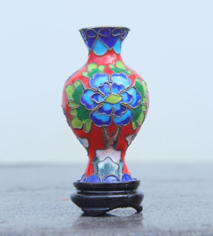 景泰藍3號觀音景瓶(紅)
