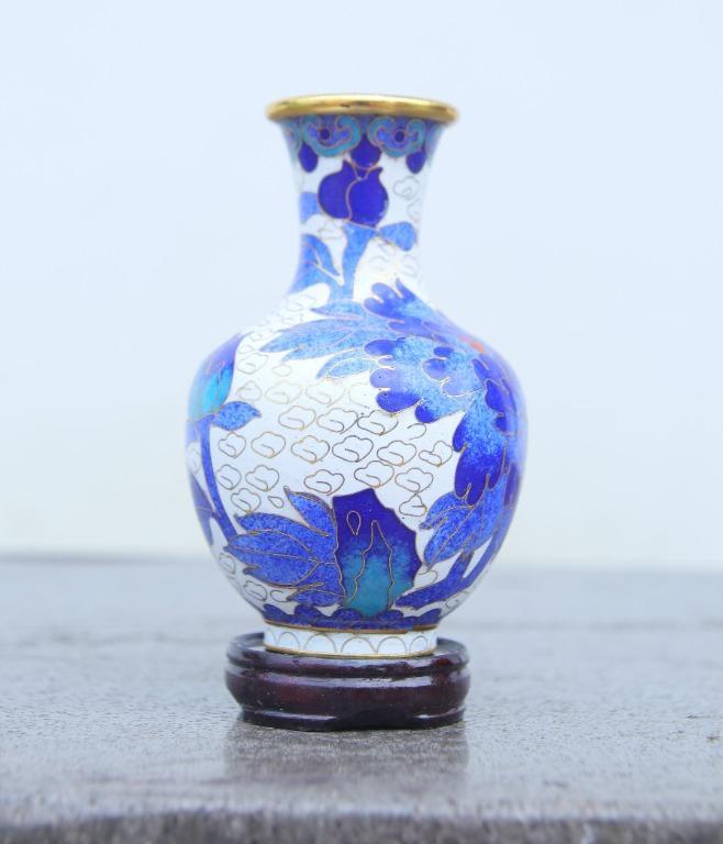 景泰藍4號低桶景瓶(白)