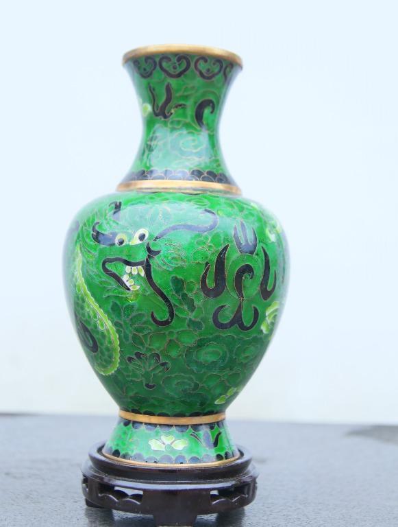 景泰藍8號觀音景瓶(綠)
