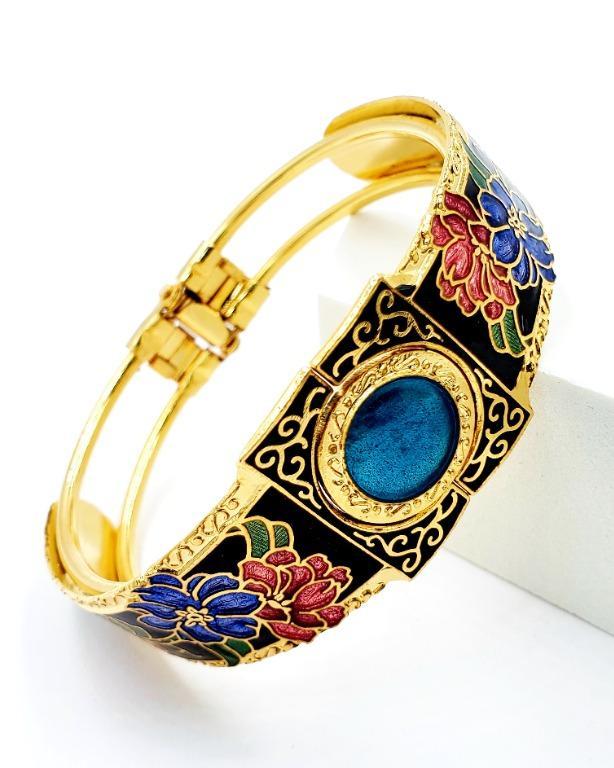 景泰藍仿寶石可開手環(圓寶石)(9色)