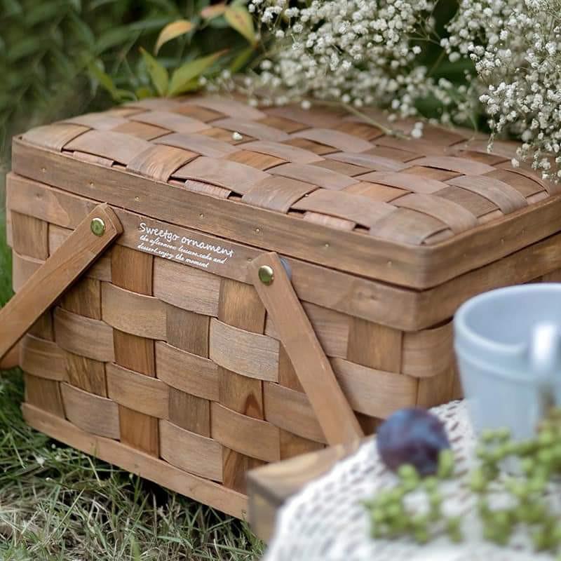 【白芷北歐雜貨🐦】🌻預購🌻掀蓋式木片編織字母野餐籃