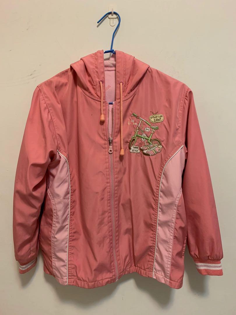 粉色 保暖 風衣 外套 有厚度 童裝