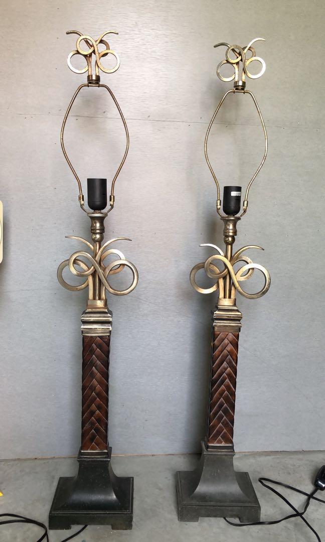 正常品 早期 二手 一組 金屬古銅色 立燈 裝飾 復古風格