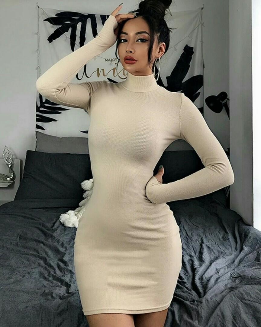 Brand New! Beige Sweater Dress