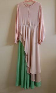 dress pink&ijo (free hijab syar'i)