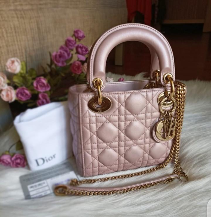 Excellent 2018 Lady Dior Mini Lotus GHW Complete with stamped card, dustbag, chain strap, booklet