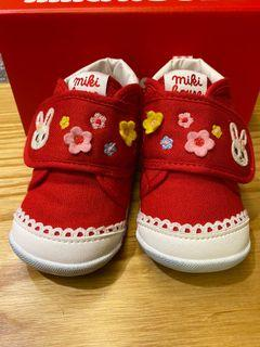 MIKI HOUSE 日本製 舞颯兔刺繡學步鞋 第一階段(紅)