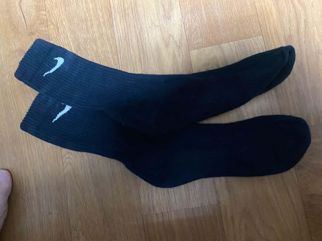 【Nike】長羅紋黑色運動長襪