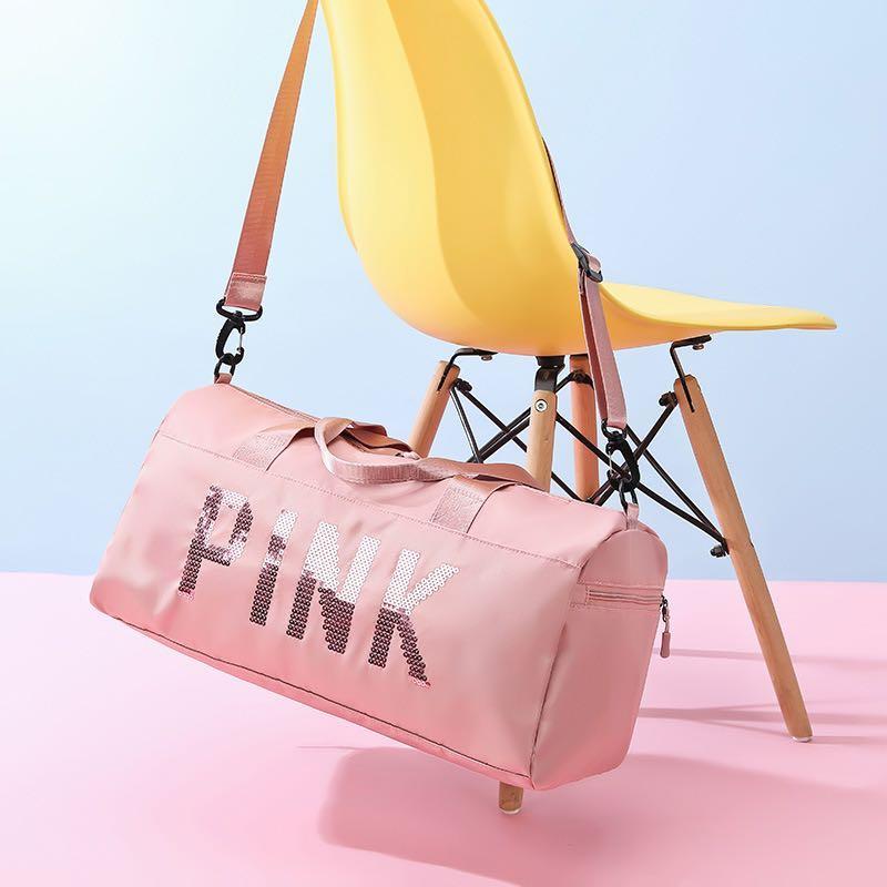 pink健身包新款歐美長短途戶外旅行包手提大容量尼龍防水鞋倉