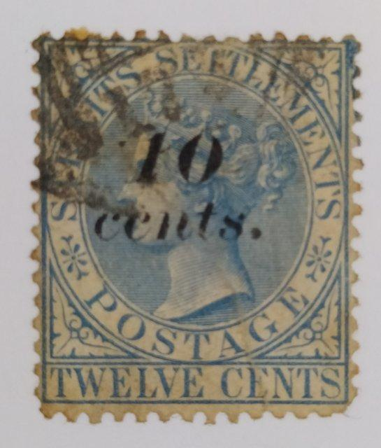 """Straits Settlements Stamp - 1880 Queen Victoria, Overprinted """"10 cents."""""""