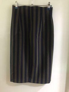 Zara blue green stripes high waist skirt