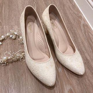 7號(24)近新婚鞋/白色蕾絲高跟鞋