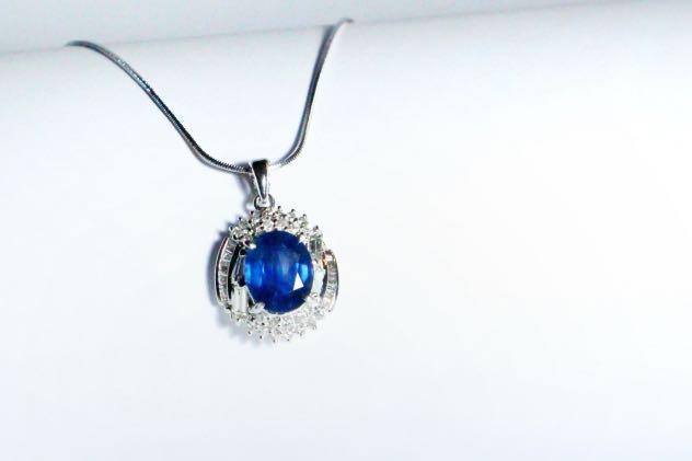 [高級]天然藍寶石項鍊 🌟藍寶5.37克拉🌟鑽石K金項鍊台 大方高貴