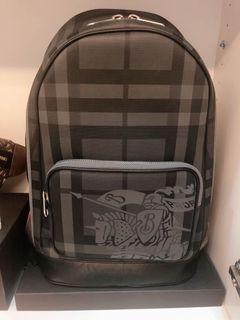 Burberry Men's Black Ekd London Check And Leather Backpack