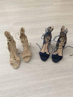 Faux leather lace up heel wedges