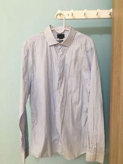 H&M藍色直紋襯衫#排行榜