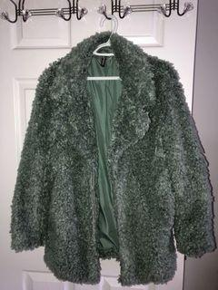 H&M faux fur coat (sage green) size small