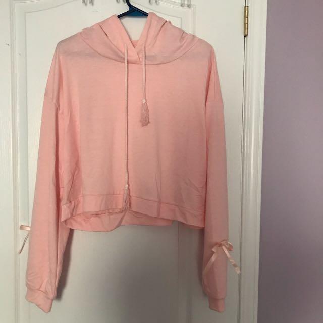 Pink bow tie cropped hoodie