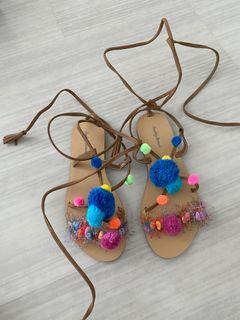 Rainbow Pom Pom Bohemian Sandals