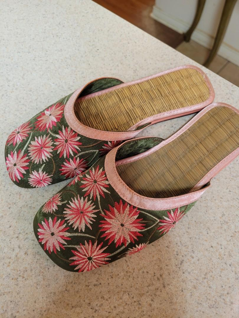 Satin and bamboo slip on shoes