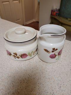 Vintage Sugar/Cream set with 4 matching tea cups