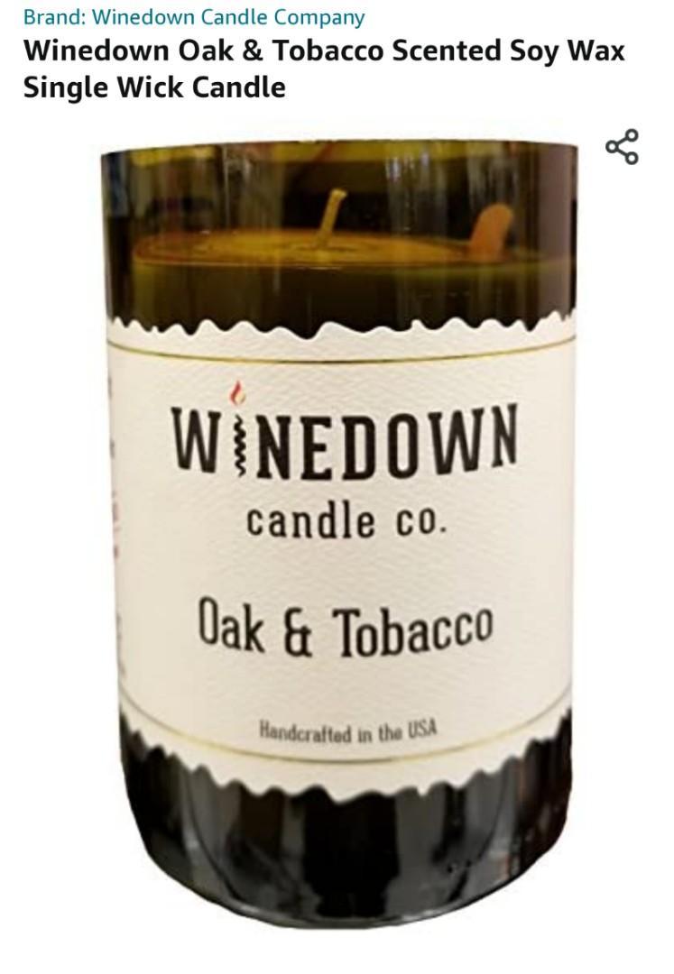 Winedown Oak & Tobacco Scented Soy Wax Single Wick Candle