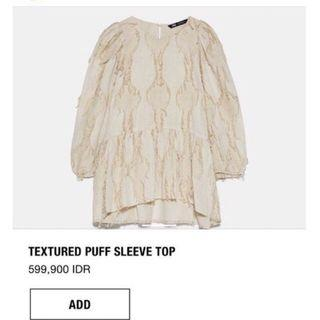 Zara Textured Puff Sleeve Top