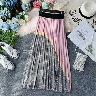 【全新】格紋撞粉色拼接雪紡百摺長裙