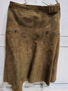 麂皮及膝裙