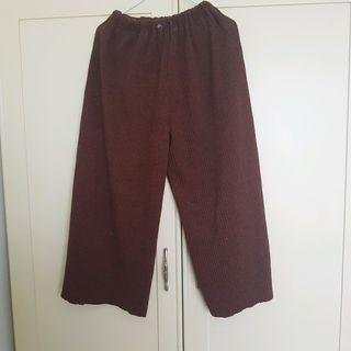 BEAM風格 正韓直條羅紋厚寬褲 古著 復古 H&M