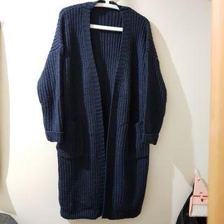 深藍粗針織外套 #排行榜