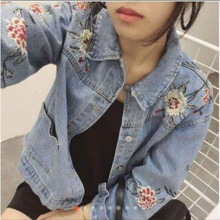 【全新】花花刺繡 淺藍牛仔單寧個性外套