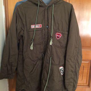軍綠 長版外套