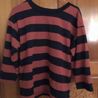 黑紅 條紋 五分袖 上衣