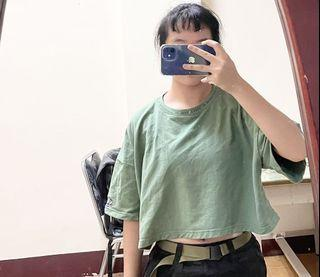 CACO 綠色 短版 棉質 T-shirt #女裝賣家