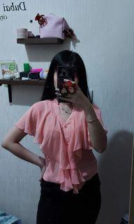 Atasan pink ruffle