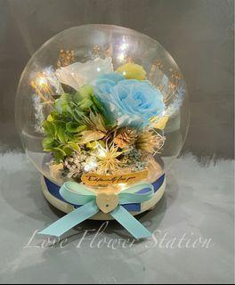 Glass Design Preserved Rose With LED Light/ Birthday Flower Gift/ Mother's Day Flower Gift/ Preserved Rose/Dried Flower / Preserved Hydrangea