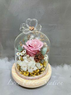 Glass Design Preserved Rose With LED Light / Mother's Day Flower Gift/ Birthday Flower Gift Idea/ Preserved Rose/ Dried Flower